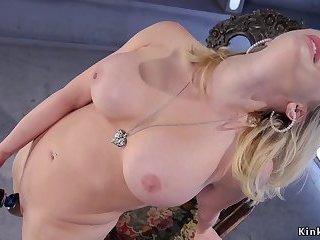 Blonde takes machine in pierced pussy