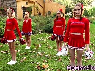 Cheerleader licks stepmom