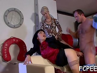 Wild clothed foursome at home