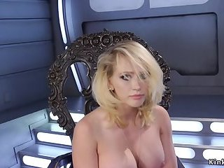 Big tits blonde in high heels fucks machine