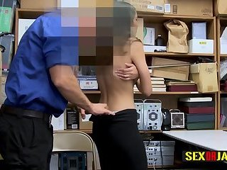 Hot Emily is placed on desk and banged with no mercy by horny cop