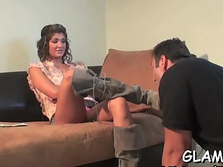 Girl plays with slave on leash