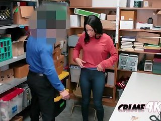 Amethyst shows off stolen lingerie as officer makes her strip down
