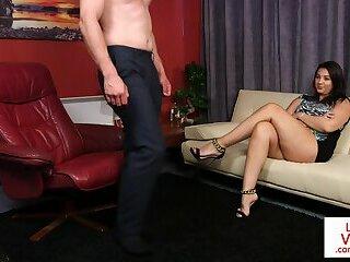 Voyeur femdom enjoys instructing naked sub