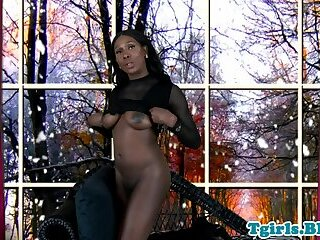 Seductive ebony tranny playing with her ass