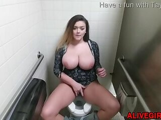 Young BBW TaylorMarie_ with posh natural boobs masturbates in a public WC