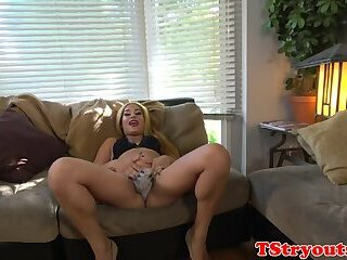 Tugging solo tranny strips at casting