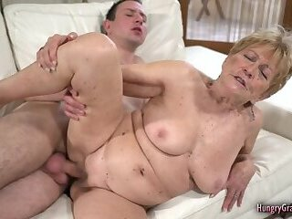 Sexy blonde granny loves to fuck hard