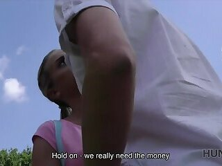 HUNT4K. Man invites couple to his place and fucks teen girl for cash