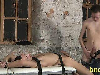Horny gay enjoys bondage teasing