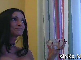 Pungent woman beauty teasing her button