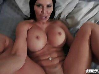 Naughty stepson plays and fucks stepmoms pussy