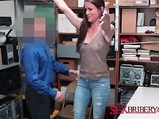 Fine ass milf gets her cherry popped by horny officers big cock