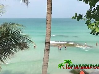 Girlfriend spends vacation in paradise beach