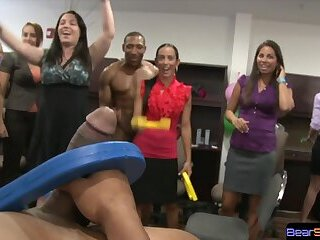 Ring toss office win chance to eat cock