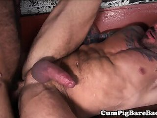 Barebacked mature stud blows cock and balls