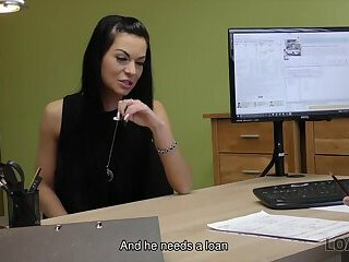 LOAN4K. Long-haired brunette Inga comes to a small loan company