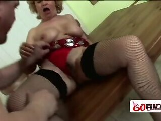 Unshamed granny gets her cherry popped deep and hard by horny stud