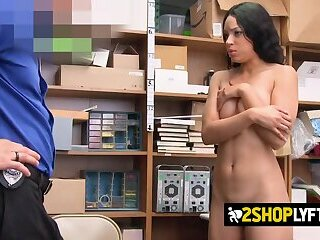 Naughty Amethyst gets her mouth and cunt squashed by horny officer