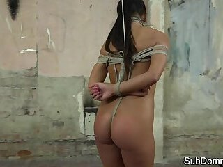 Cute euro gagged and toyed until she orgasms