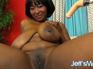 Natural Jumbo Tits Ebony Plumper Marie Leone Gets Drilled by a Machine