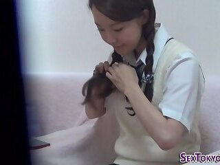 Asian student solo rubs