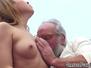 Teen gobbles old cock