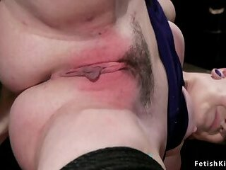Goth slave anal banged by busty domme