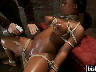 Ebony chick gets punished by a stranger