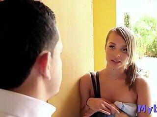 Astounding latin blonde miss Liza Rowe bangs well