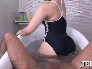 Cunning nipponese nympho Ai Uehara bounces on hard dangler