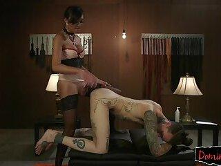 Oriental babe slams hard cock into her slave