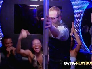 Amateur swingers perform sexual scenes in the Red Orgy Room