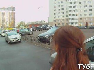 Vigorous russian diva Christi blows before doggy