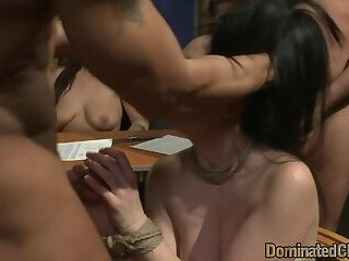 Raven office babe getting gangbanged