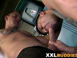 Gay hunk tugging big dick