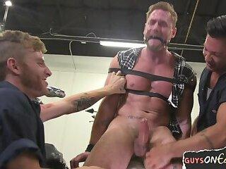 Blindfolded hunk edged and punished