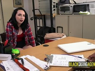 Dressed and getting a black dick in the middle of the office