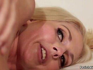 Butt plugged blonde lesbians licking