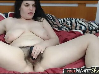 Real bbw slut toys her hairy pussy