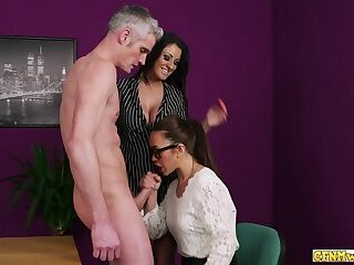 Cock tugging cfnm slut gives head