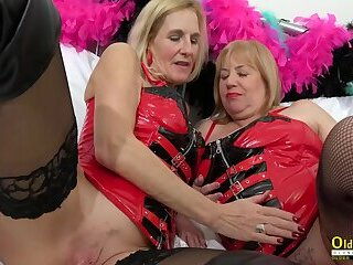 Oldnanny Two horny matures in red leather corset