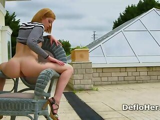 Blonde teen Alexa Glukoza teases with gorgeous booty outdoor