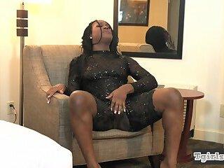 Classy ebony tgirl strips off and wanks