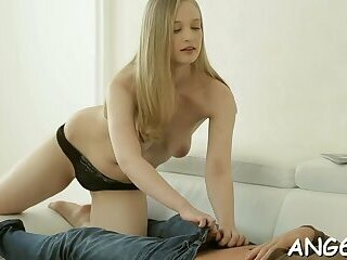Sexual barely legal Inga E gets filled up to an edge