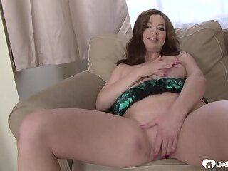 Chubby brunette masturbates before getting rammed hard