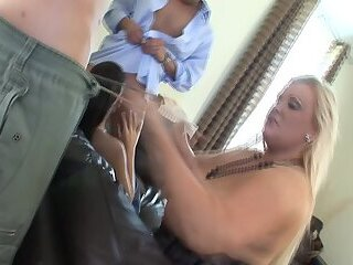 Blonde Fat Honey In Foursome With Horny Friends
