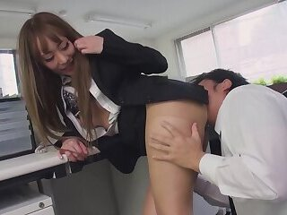 Horny japanese office lady buried her ass into colleague face