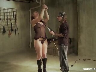 Tied Nora enjoys electro play and spanking punishment