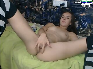Adorable Young Amateur Teen Stripping and Fingering on webcam